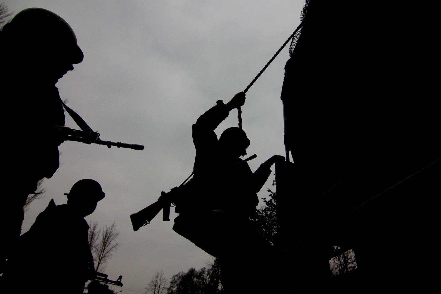 January 24, 2012. Indian paramilitary soldiers rehearse outside Bakshi Stadium, the main venue for the Indian Republic Day celebrations.