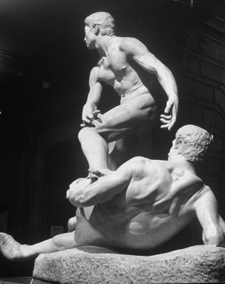 The Struggle of Two Natures in Man by George Grey Barnard stands in the Metropolitan Museum of Art