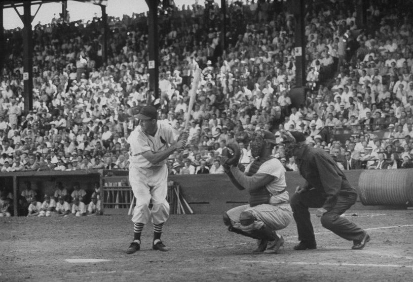 "Stan Musial displays his seemingly awkward ""knock-kneed"" bating stance, 1952."