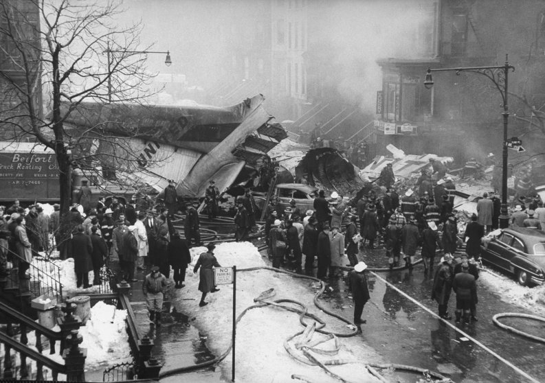Aftermath of air disaster, Brooklyn, December 1960.