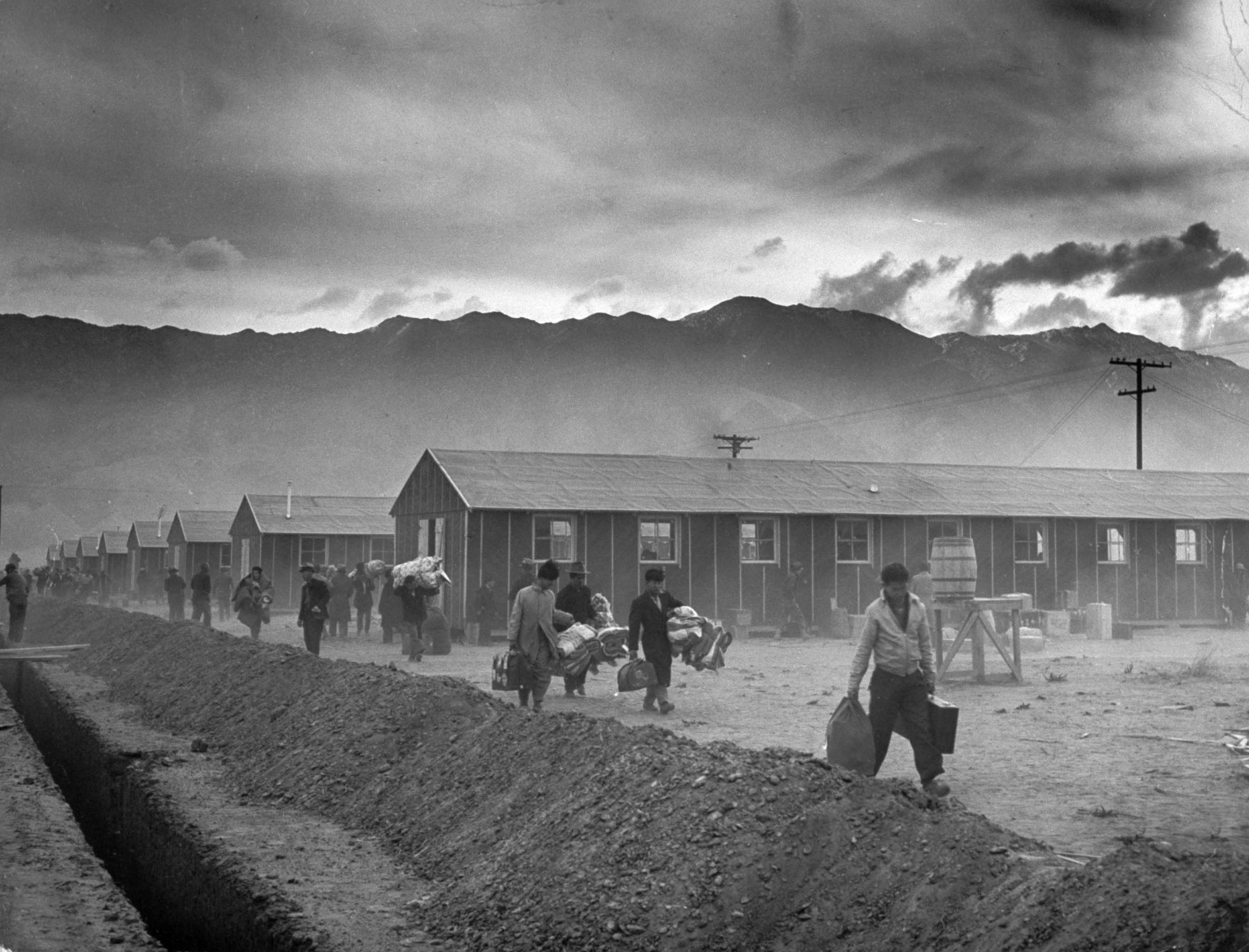 On March 21, 1942, the first 82 Japanese-American internees arrive at Manzanar, the first of the internment camps to open, in California's Owens Valley. It will ultimately hold more than 10,000.