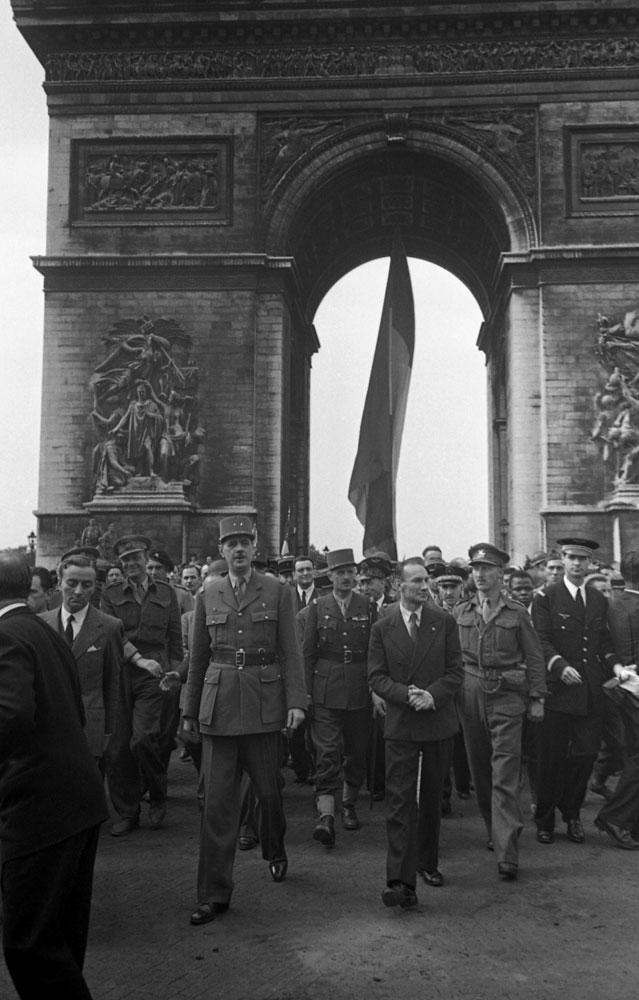 General Charles de Gaulle, who led the French government-in-exile for four years, at the Arc de Triomphe, Paris, Aug. 25, 1944.
