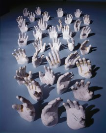 Like pale sea anemones, plaster casts of the hands of NASA astronauts -- made so that their space suits can be custom-fit for each individual -- seem to wave at nothing in Houston, Texas, in 1968.