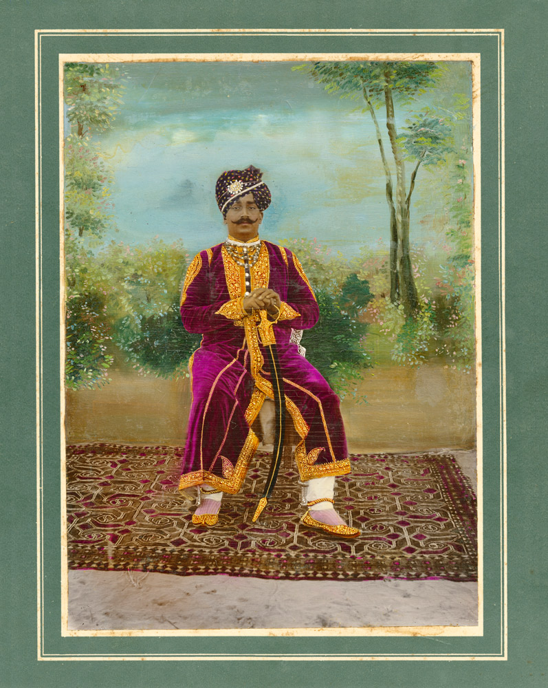 Silver gelatin print with hand-tinting and overpainting, India, c1900