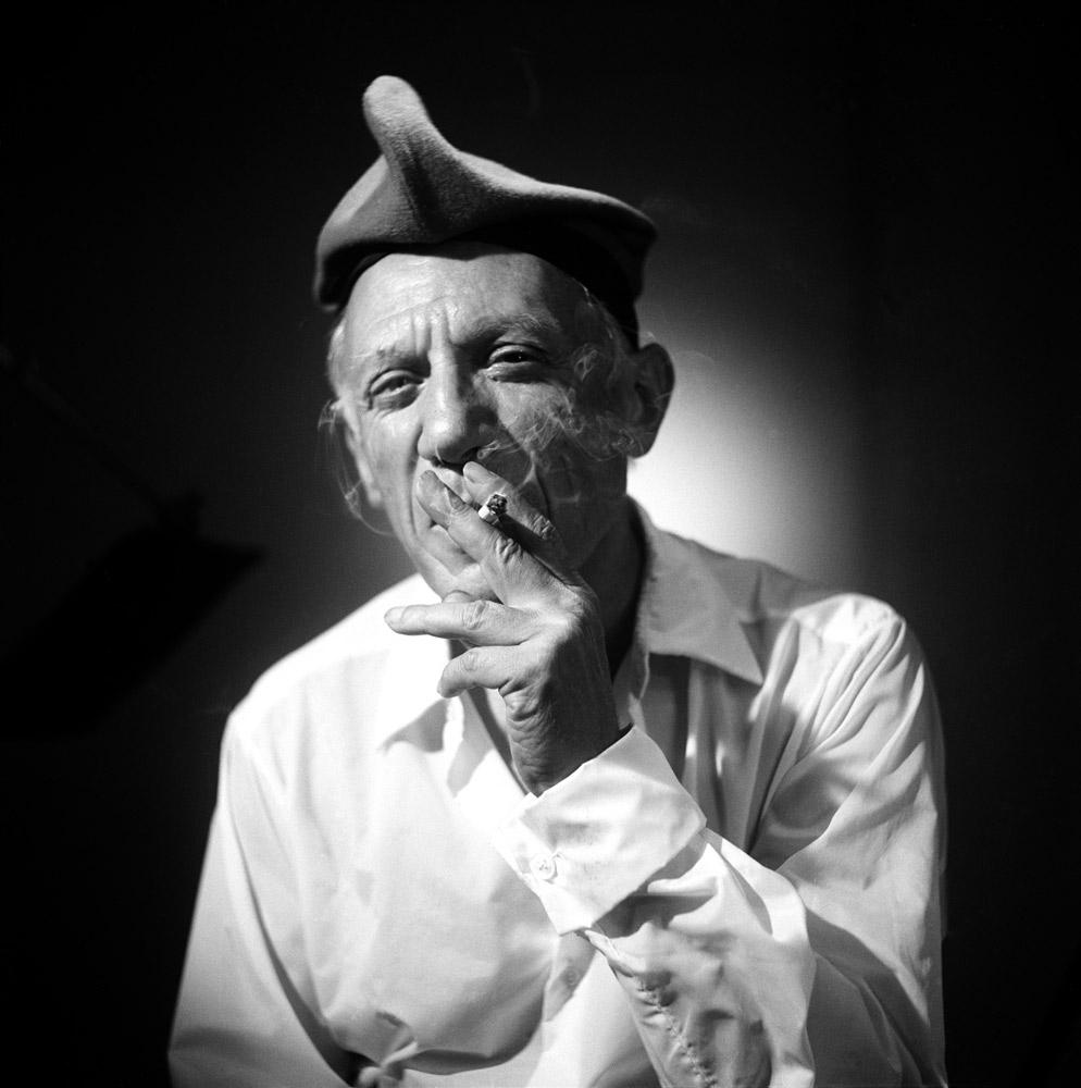 Pablo Picasso, silver gelatin print, France 1955