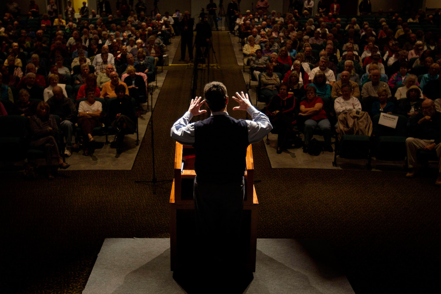 January 12, 2012. Republican presidential candidate, former Pennsylvania Sen. Rick Santorum speaks during a town hall meeting in Sun City, S.C.