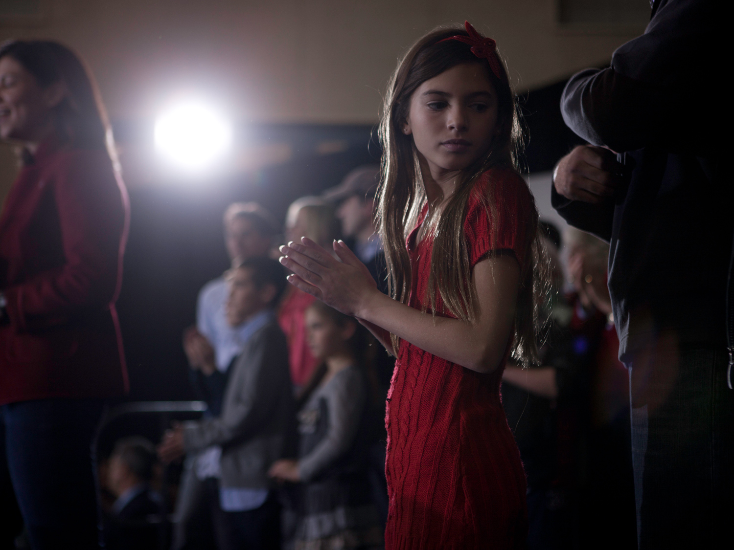 January 8, 2012. Young members of Mitt Romney's family on stage at a campaign rally in Exeter, N.H.