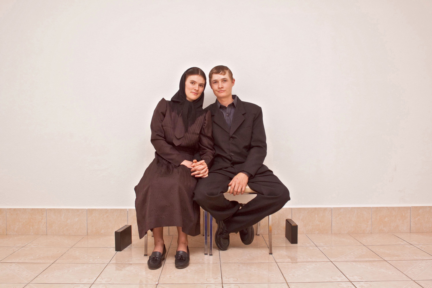 Young couple after their marriage. Traditional Mennonite weddings are very important and are conducted in silence, Nuevo Ideal, Durango, Mexico, 2010