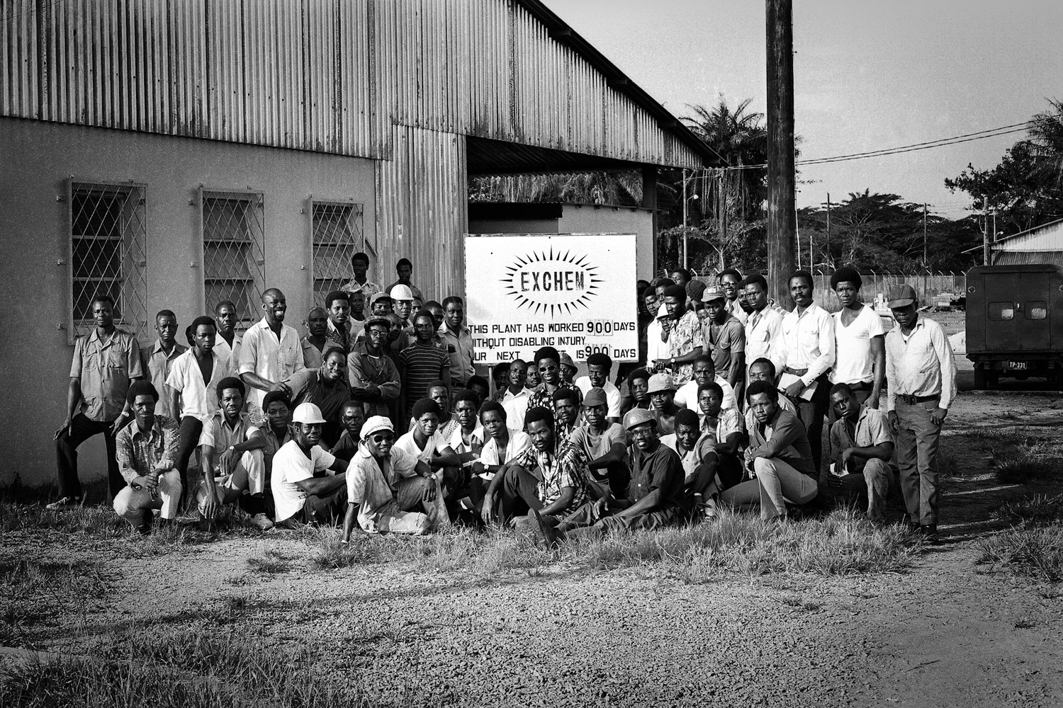 Exchem workers as they mark 900 consecutive days without time lost to an accident. Exchem plant, 1978.