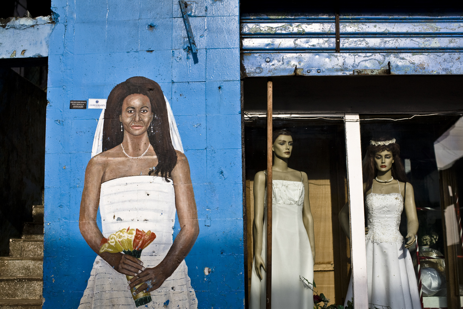 A shop that rents and sells wedding dresses in central Monrovia.