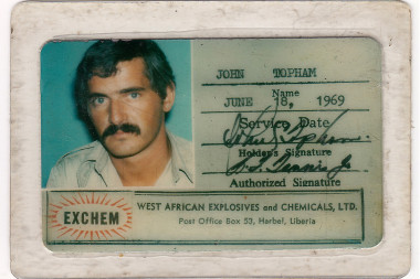 John Topham's Exchem ID. Many Liberians got rid of of their work ID cards to stay alive during the civil war.