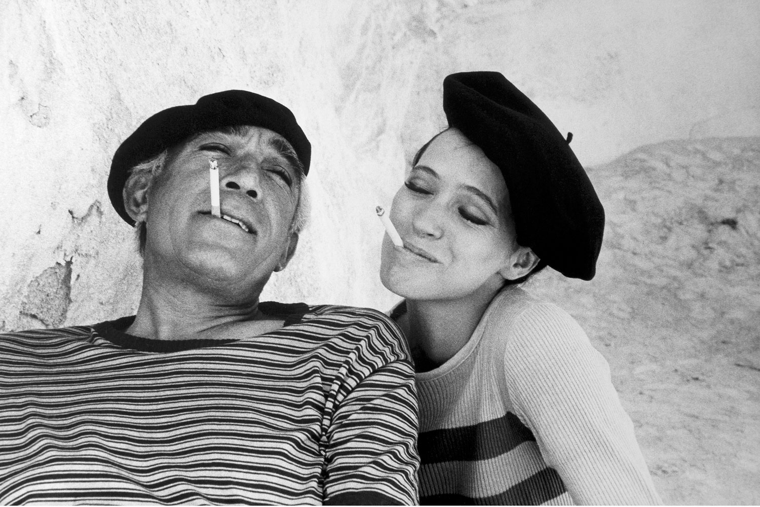 Anthony Quinn and Anna Karina on the set of Guy Green's  The Magus,  in Mallorca, Spain. 1976