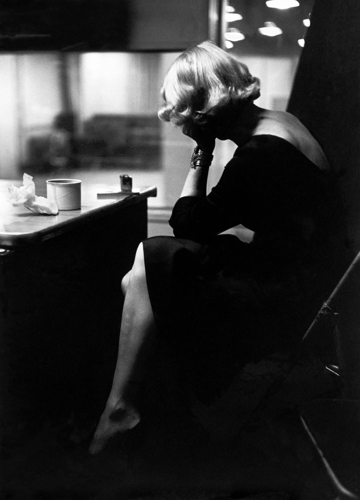 Marlene Dietrich at the recording studios of Columbia Records, who were releasing most of her songs she had performed for the troops during World War II, November 1952.