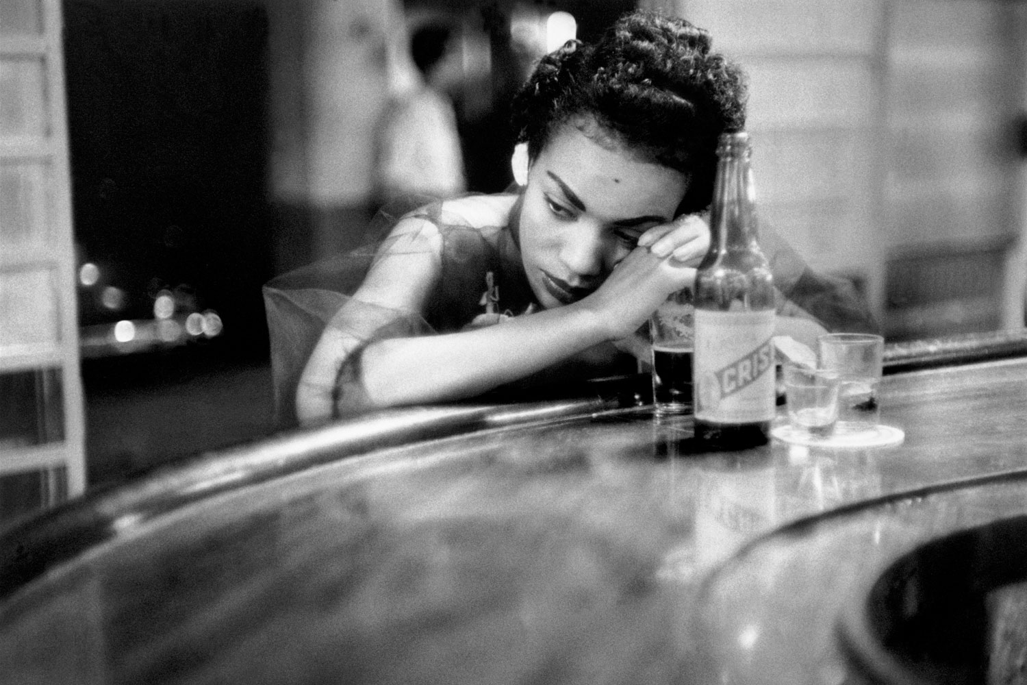 Bar girl in a brothel in the red light district in Havana, Cuba, 1954.