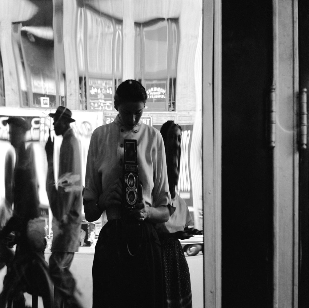 Self-portrait. Eve Arnold in a distorting mirror, New York City, 1950.