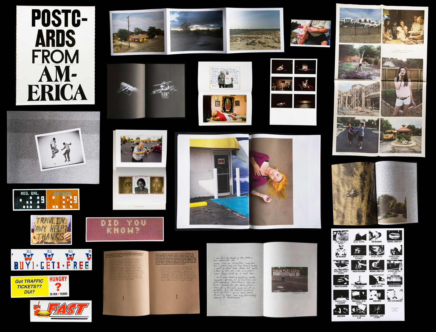 Postcards From America is a collection of objects: a book, five bumper stickers, a newspaper, two fold-outs, three cards, a poster and five zines.