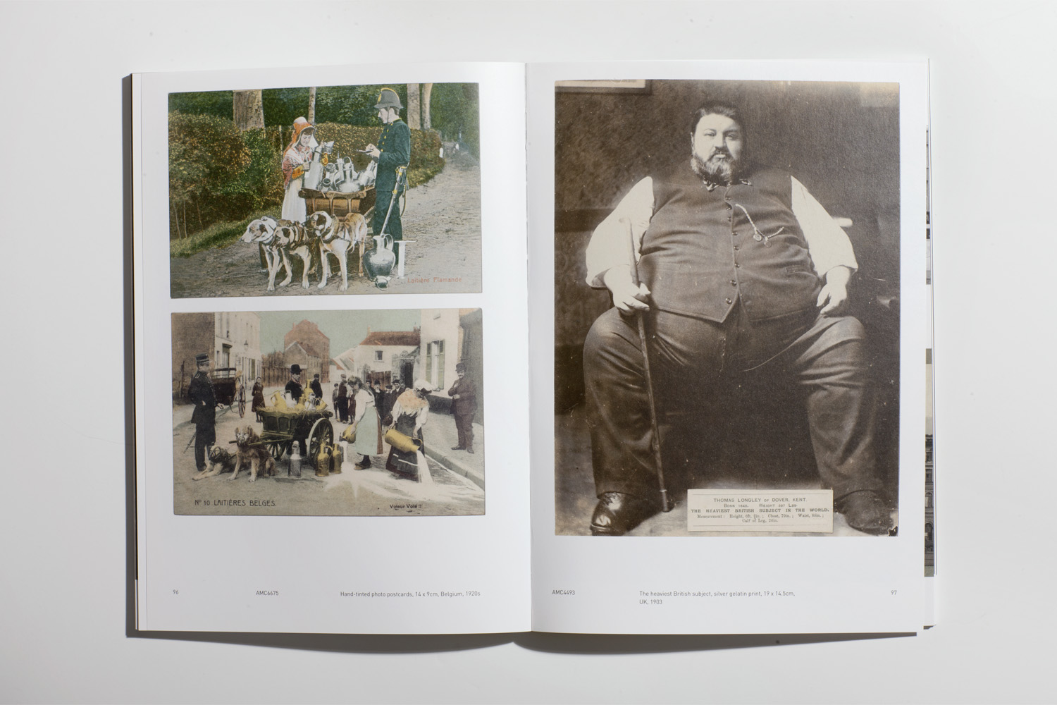 A spread from Amc²: (left) Hand-tinted photo postcards, Belgium, 1920s.                                (right) The heaviest British subject, silver gelatin print, UK, 1903.