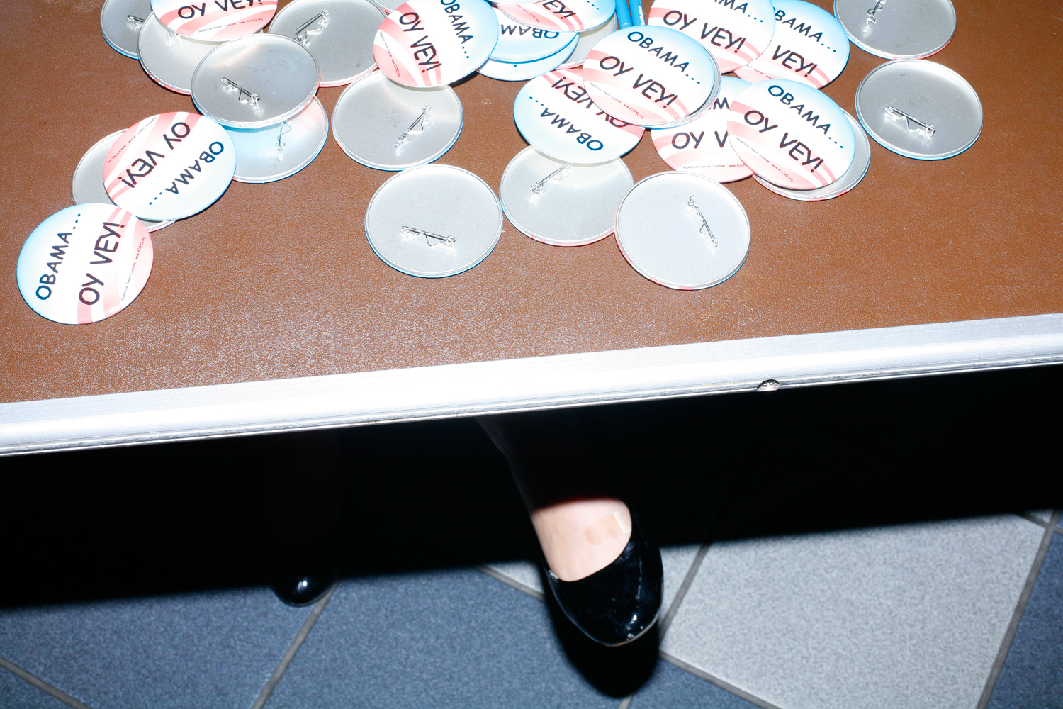 Buttons at a Gingrich rally at the Republican Jewish Coalition, Delray Beach, Fla., January 27, 2012.