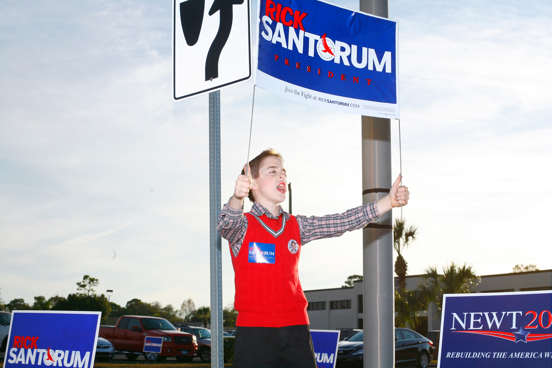 A Rick Santorum supporter at Aloma Baptist Church, Winter Park, Fla., January 28, 2012.