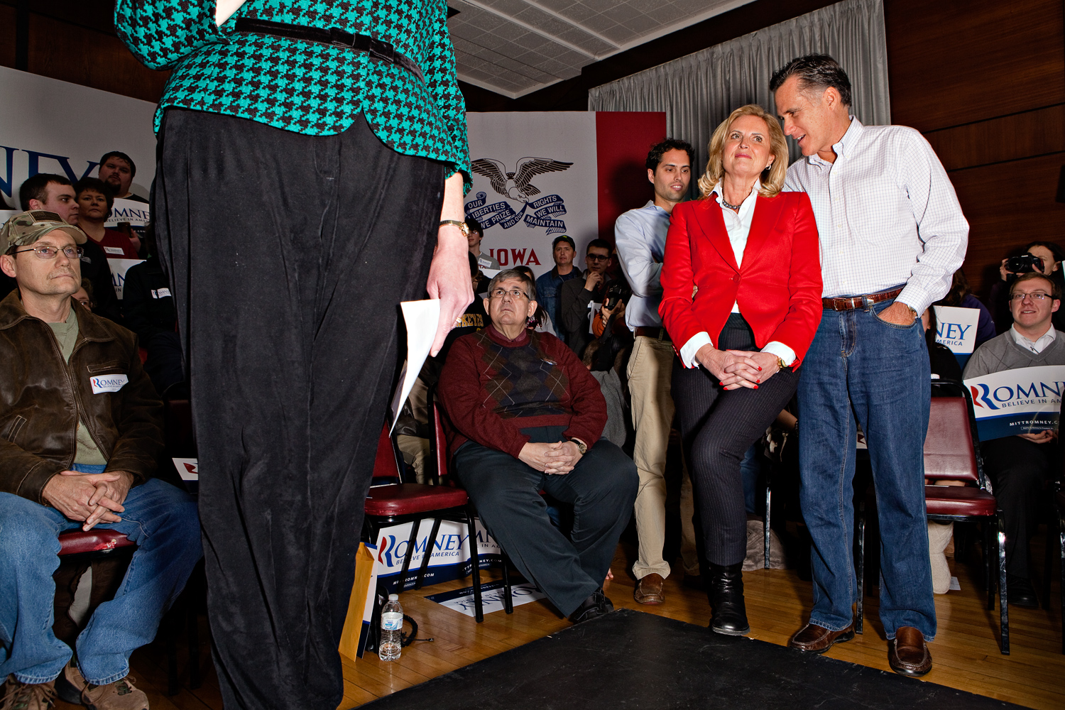 Mitt Romney and his wife Ann host a a grassroots campaign rally at Bayliss Park Hall in Council Bluffs, Iowa on January 1, 2012.