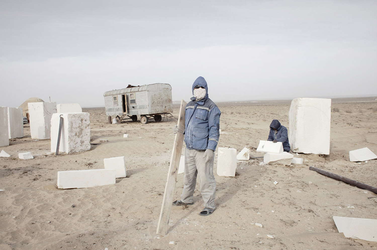 Migrant Uzbek workers build mausoleums for the new rich in Koshkar, Kazakhstan, 2011.
