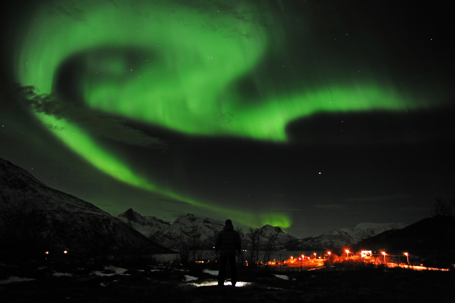 January 24, 2012. Northern lights as seen from the Skulsfjord outside Troms, Norway.