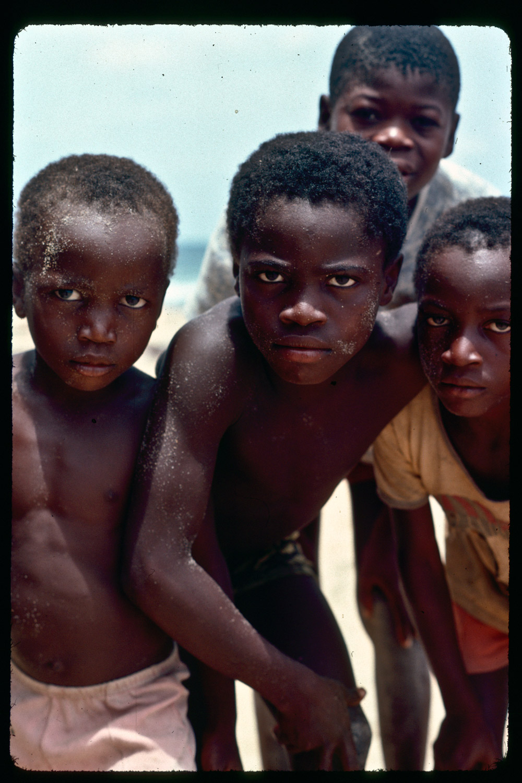 Unidentified Liberian kids. Marshall Beach, 1977.