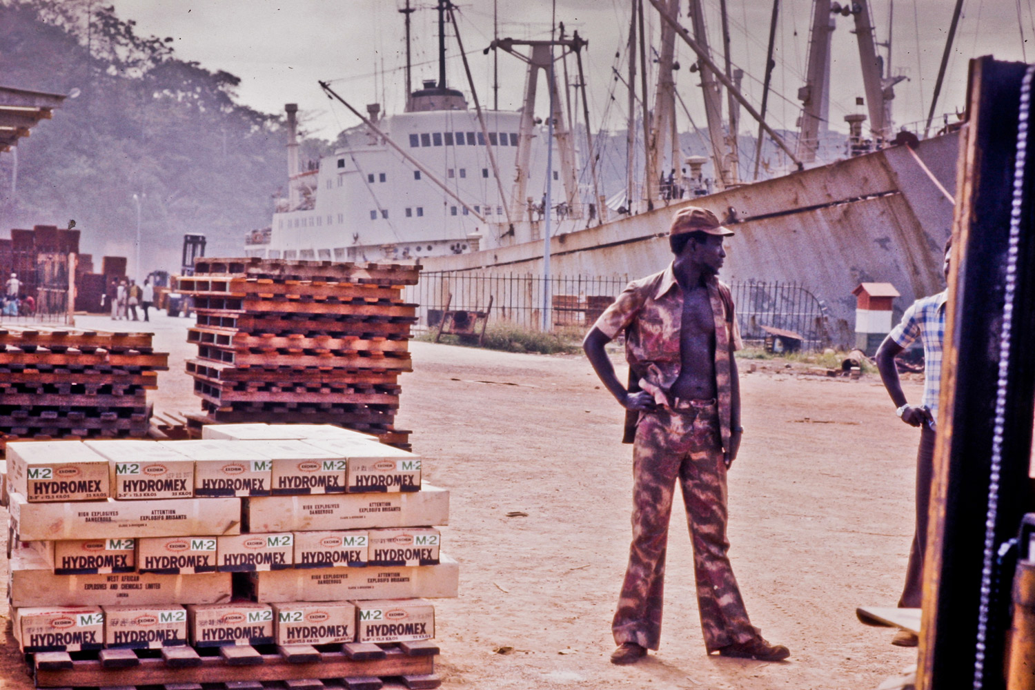 Hydromex. Denko Shipping Lines, off-loading 100 tons of Hydromex destined for the Exchem plant. Port of Monrovia, 1977.
