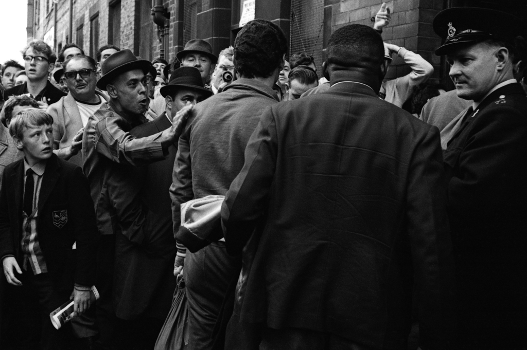 <strong>Not published in LIFE.</strong> Fans welcome the Brazil squad to the stadium, Liverpool, 1966.