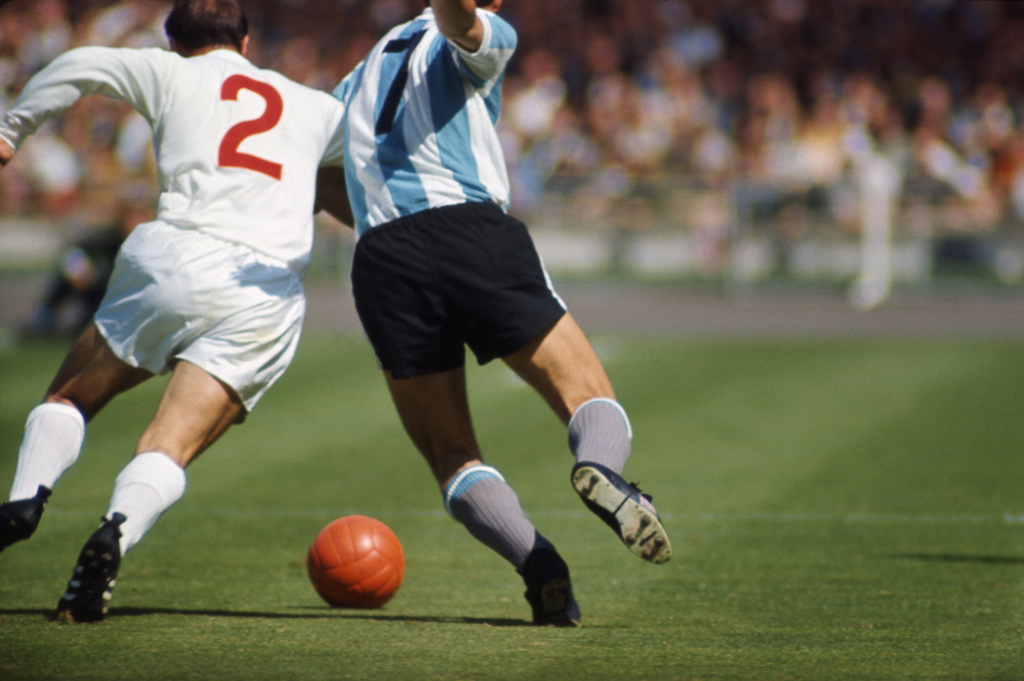 <strong>Not published in LIFE.</strong> England's George Cohen vies with Argentina's Silvio Marzolini during a World Cup quarterfinal match, 1966.