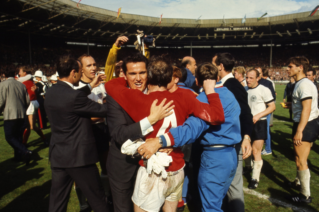 <strong>Not published in LIFE.</strong> Players and coaches celebrate on the pitch at Wembley after England's 4-2 victory over West Germany, July 30, 1966.