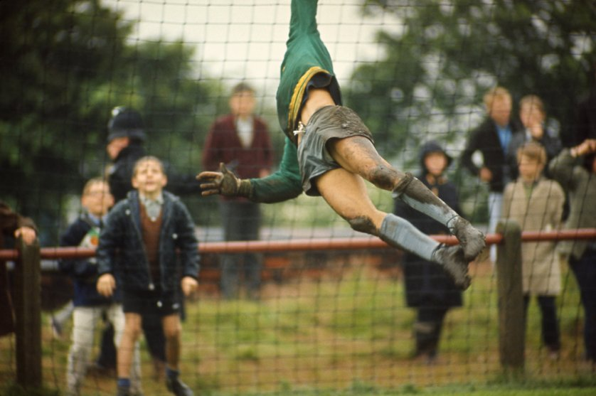 Brazil's goalkeeper, Gilmar, leaps to block a shot during World Cup practice in Liverpool, 1966.