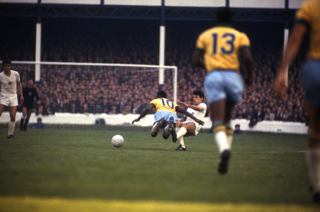 <strong>Not published in LIFE.</strong> Pelé is tackled during Brazil's 2-0 win over Bulgaria, England, 1966.