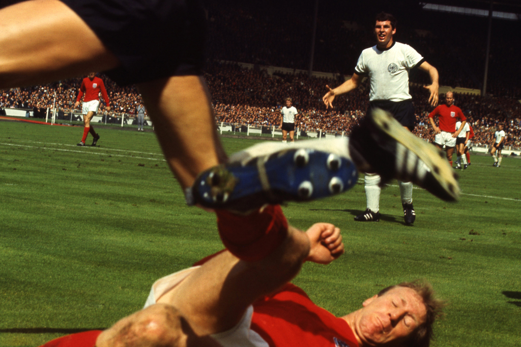 <strong>Not published in LIFE.</strong> Jack Charlton slides hard against West Germany, World Cup, 1966.