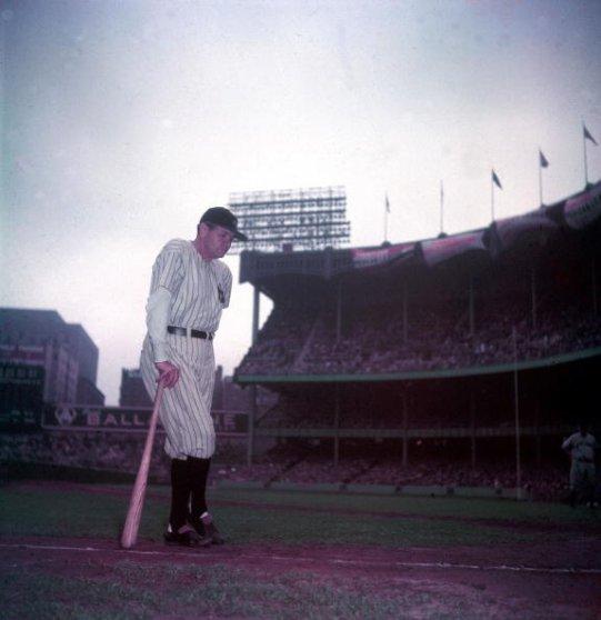 Babe Ruth waits to address the Yankee Stadium crowd, June 13, 1948.