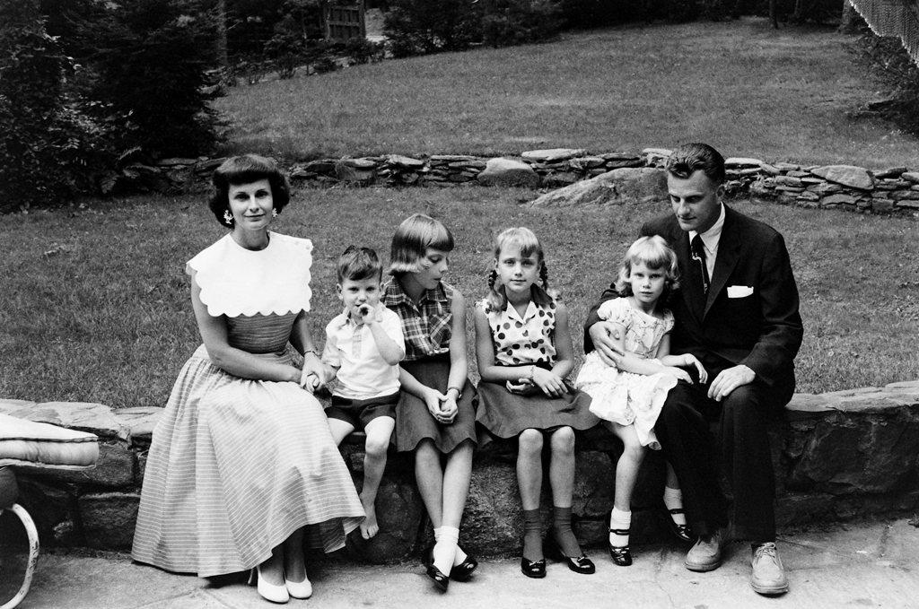 <strong>Not published in LIFE.</strong> Billy and Ruth Graham and their four children in North Carolina in 1956: Franklin (who would become the pastor's designated successor as head of the Billy Graham Evangelistic Association), Virginia, Anne and Ruth.