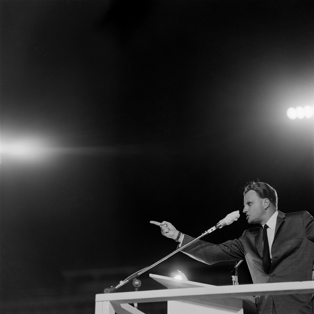 <strong>Not published in LIFE.</strong> Billy Graham preaches in Little Rock, Arkansas, in 1959.