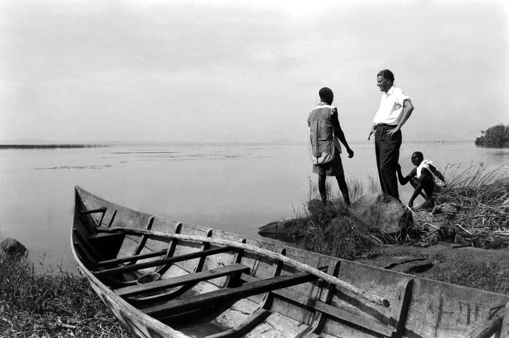 """<strong>Not published in LIFE.</strong> Billy Graham in Africa, 1960. When he first began to preach, as a student at the Florida Bible Institute, he would paddle a canoe across the Hillsborough River to a little island where, as he wrote in his autobiography, """"I could address all creatures great and small, from alligators to birds. If they would not stop to listen, there was always a congregation of cypress stumps that could neither slither nor fly away."""" Today, the area is the site of Rev. Billy Graham Memorial Park."""