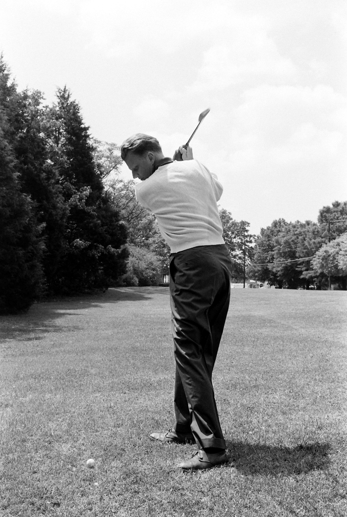 <strong>Not published in LIFE.</strong> Billy Graham, 1960. Golf played a key role in Graham's life; he wrote in his autobiography that he received his calling to preach the gospel on the 18th green of the Temple Terrace Golf and Country Club. He joked that God wouldn't let him get too good at golf, or else he'd spend too much time playing.