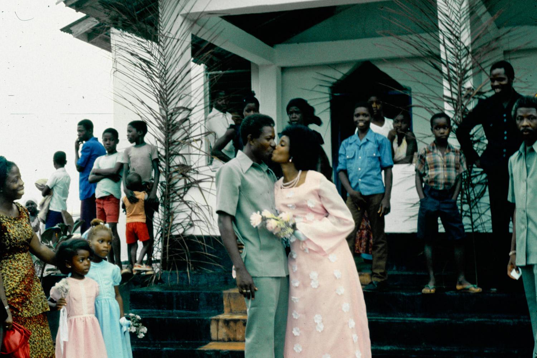 Exchem driver George Gould's wedding. Monrovia, 1979.
