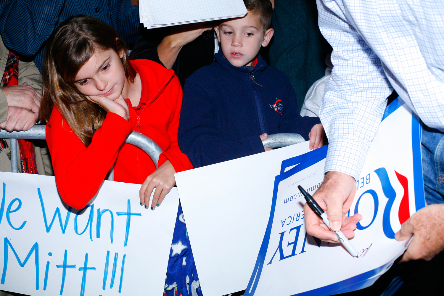 Children at Romney's campaign event at Ring Power Lift Trucks in Jacksonville, Fla., January 30, 2012.