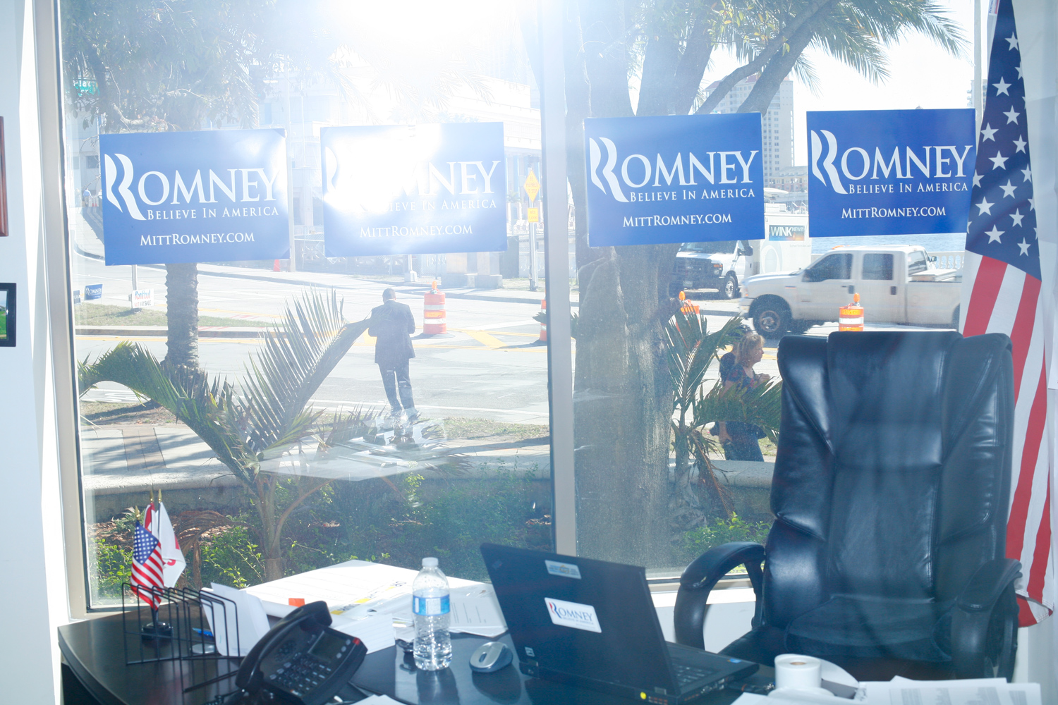 Romney election headquarters in Tampa, Florida, January 31, 2012.