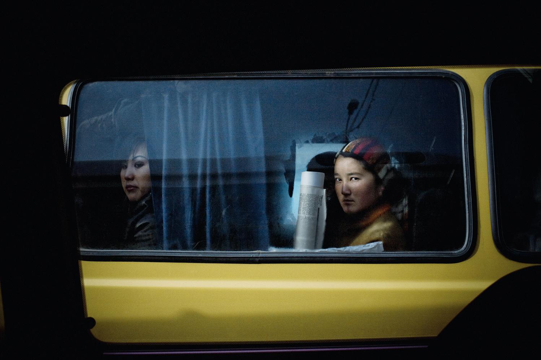 2008. Bus passengers in Osh.