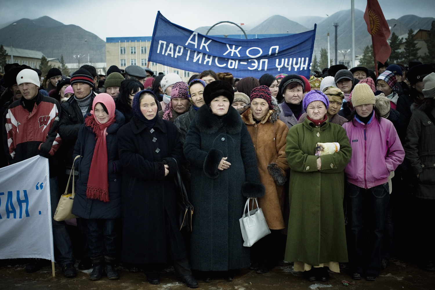 2007. A political rally in Naryn for the president's party, Ak Jol ( Bright Path ), during the parliamentary elections. The crowd was mostly made up of people working for the administration, who were  invited  to attend the rally.