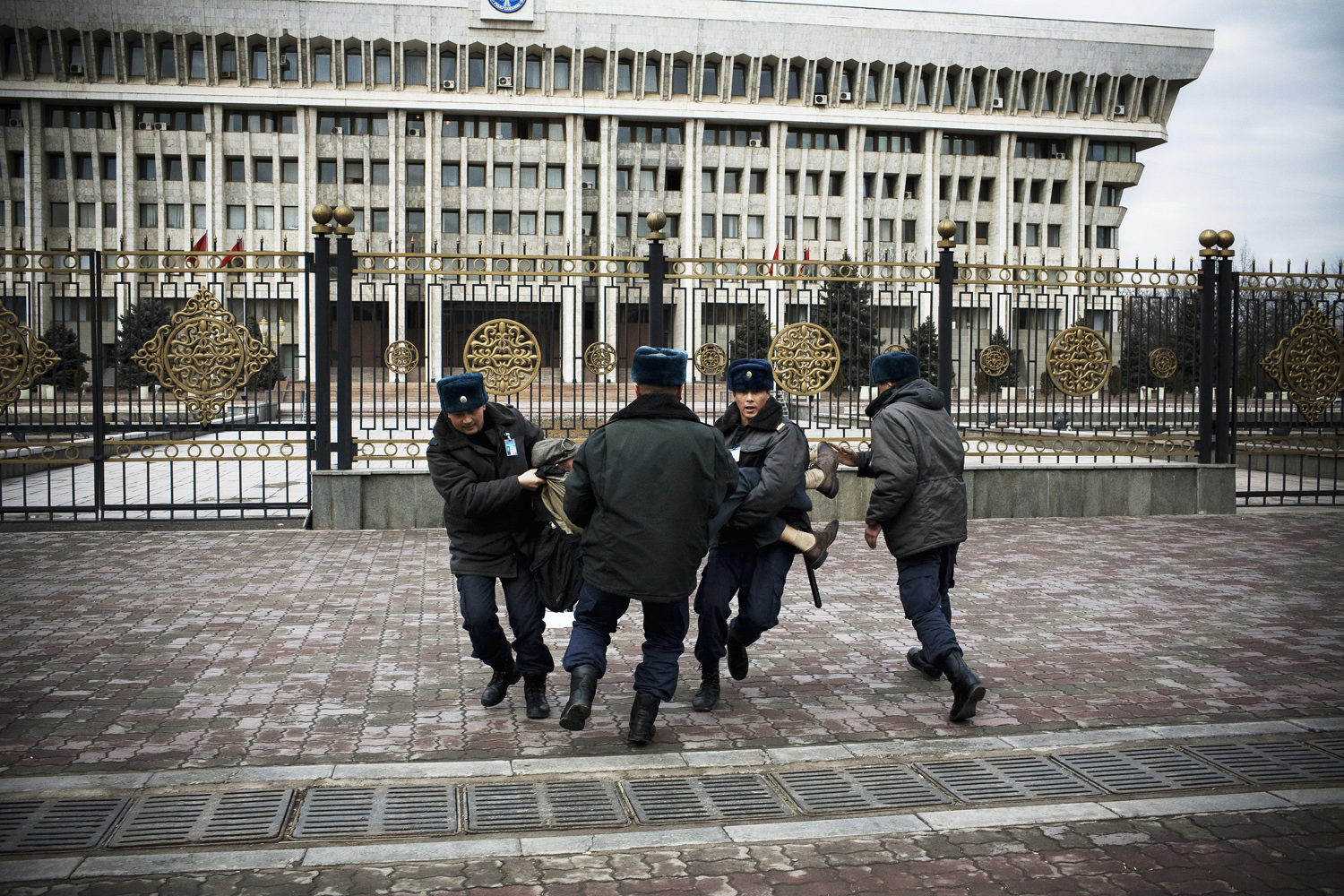 2009. Human rights activist Maxim Kuleshov is violently arrested at a protest calling for the resignation of President Bakiyev in Bishkek. Later Kuleshov was placed in the city's psychiatric facility, which once housed Soviet dissidents.