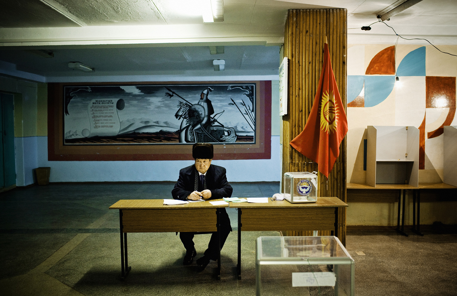 2007. A parliamentary election official oversees voting in a village outside Bishkek. Some international election observers noted a number of voting irregularities.