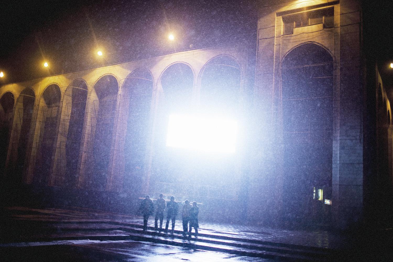 2008. A video screen illuminates Bishkek's main square.