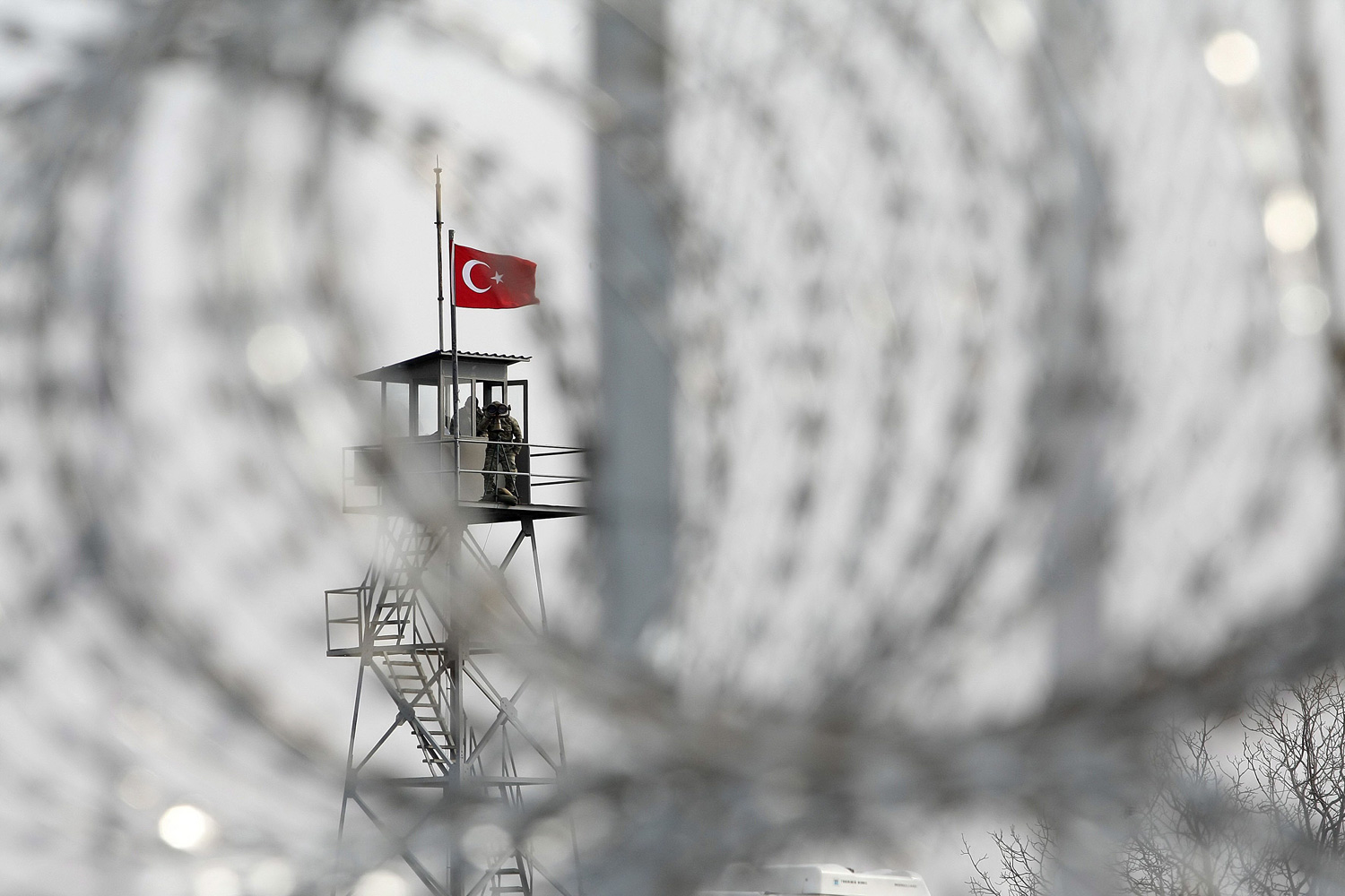 A watchtower is shown at a portion of a state-of-the-art security fence along a the land border with Turkey, in Nea Vyssa city, Evros, Greece.  In 2011 alone, 54,974 non-legal immigrants clandestinely crossed the Evros border into Greece.