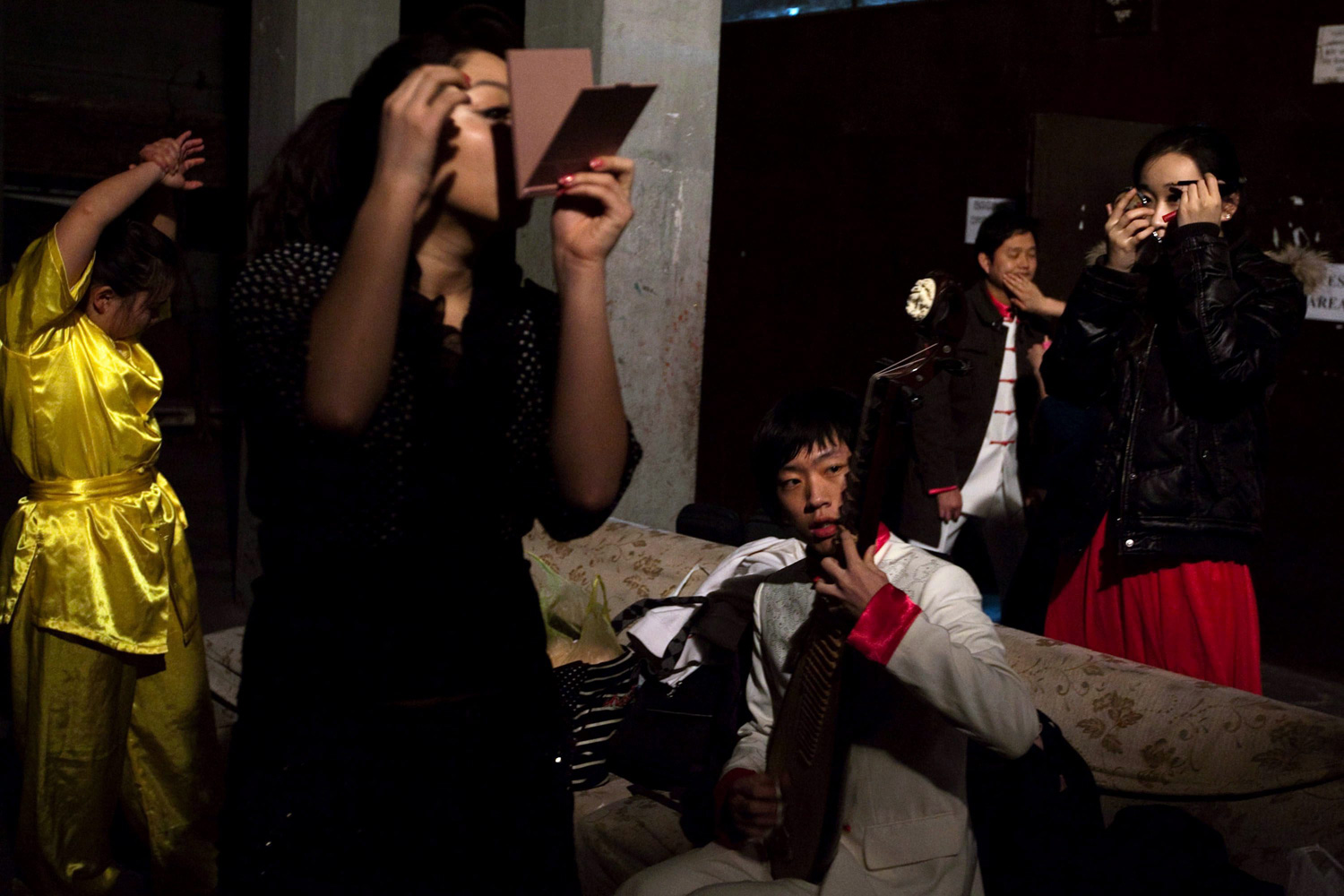 February 6, 2012. Chinese artists prepare backstage before a Chinese Spring Festival gala on the occasion of the Chinese New Year, in Kathmandu.