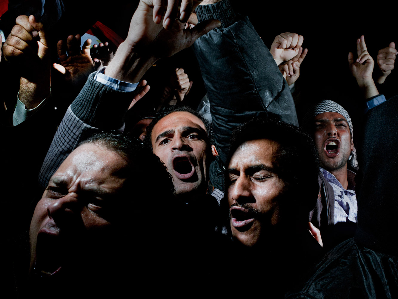 First Prize General News SinglesFebruary 10. Cairo, Egypt. Protesters cry, chant and scream in Cairo's Tahrir Square, after listening to the speech in which Egyptian President Hosni Mubarak said he would not give up power.